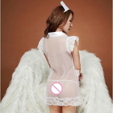 White Net Role play Nurse Sexy costume - Nighty for Women