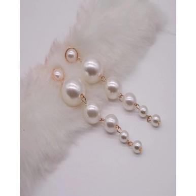 Trendy Elegant Created Big Simulated Pearl Long Earrings for Women