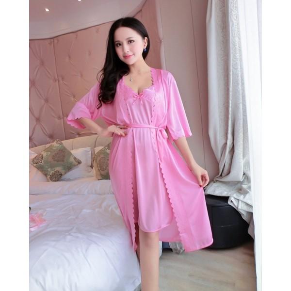 2 Piece Pink Summer Silk Nightwear Set for Women