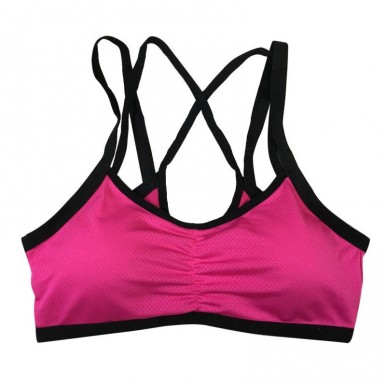 Girls Breathable Sports Running Gym Double Shoulder Belt Push Up Seamless Padded Wire free Shake proof Bra