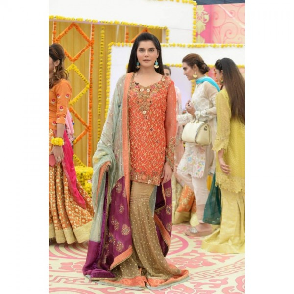 Orange and Beige chiffon embroidery suit
