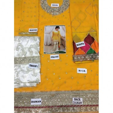 BRIDAL MEHNDI CHIFFON SUIT in Yellow Colour SW-LB