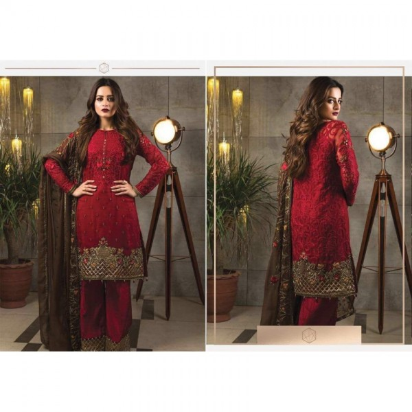 Red Chiffon Embroidered Suit - IM09