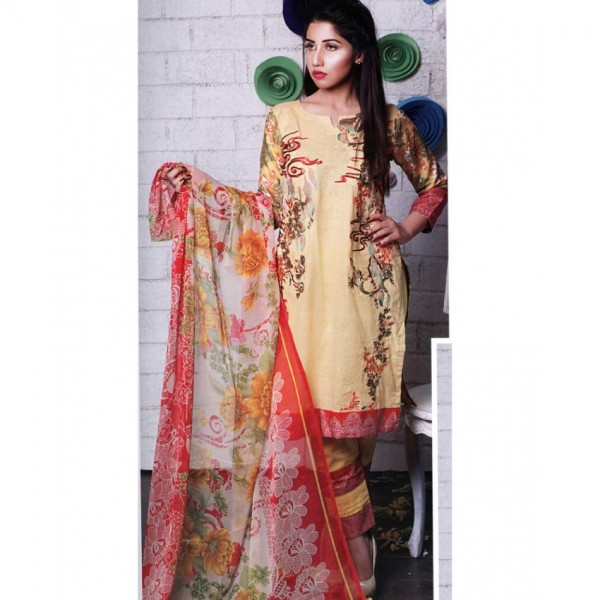 Ladies Designer Embroidered Lawn Suit with Chiffon Dopatta YL150