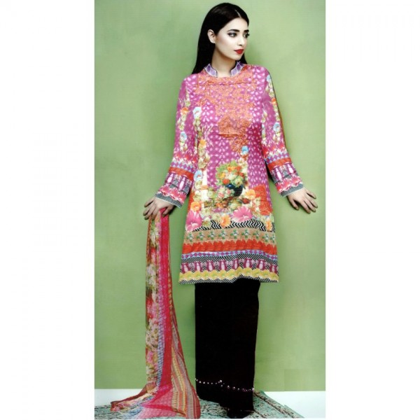 Multi Color Ladies Designer Embroidered Lawn Suit with Chiffon Dopatta