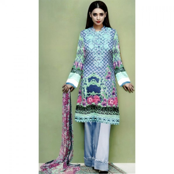 Sky Blue High Quality Embroidered Lawn Suit with Chiffon Dupatta