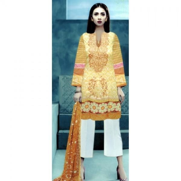 Yellow Ladies Designer Digital Printed Twill Suit - UnStitched