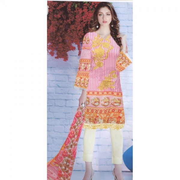 Lawn Suit with Chiffon Dopatta with Embroidered Front