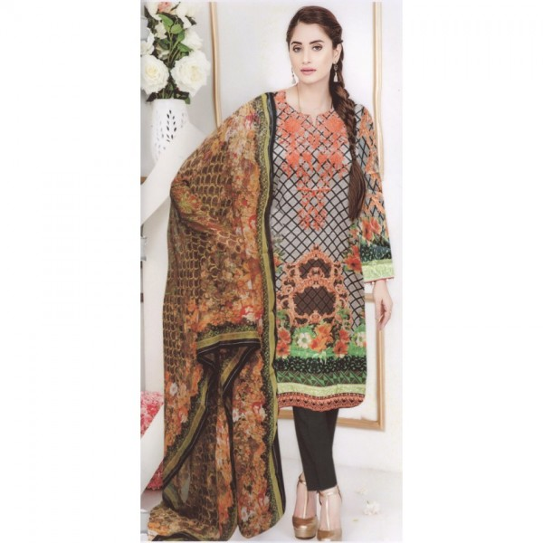 High Quality Lawn Suit with Chiffon Dopatta in green shade