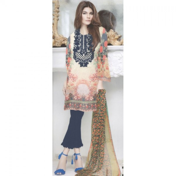 Thread Embroidered Lawn Suit with Chiffon Dopatta