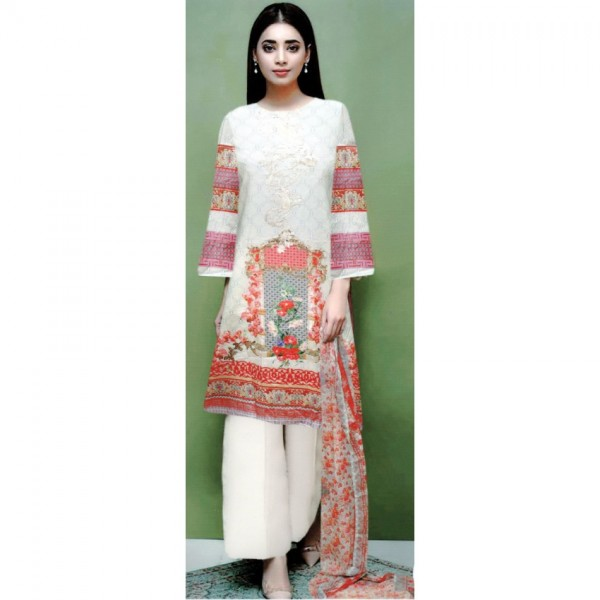 White Embroidered Lawn Suit with Chiffon Dopatta