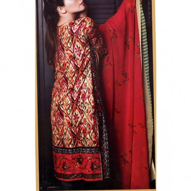 Ladies Designer Embroidered Lawn Suit with Chiffon Dopatta RY150