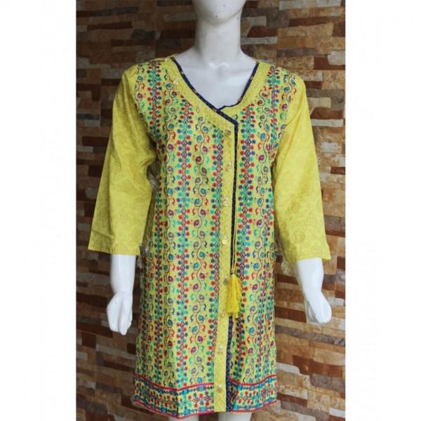 Ladies Readymade Designer Embroidered Angarkha Style Lawn Kurti