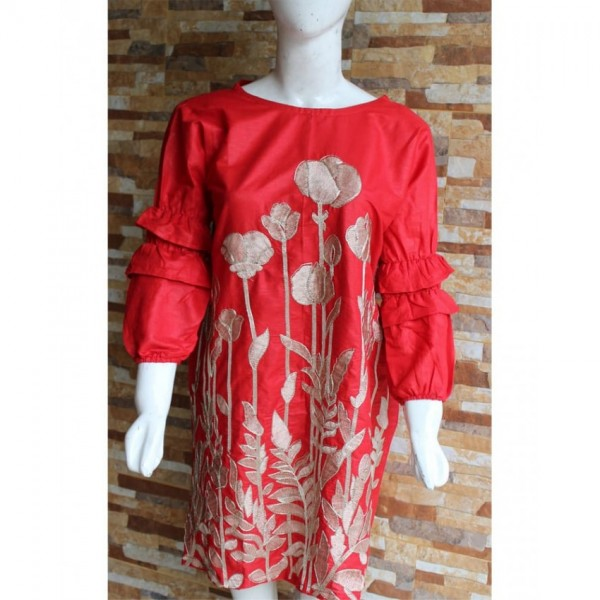 Red Colour Ladies Readymade Designer Embroidered Lawn Kurti
