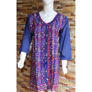 Angarkha Style Ladies Readymade Designer Embroidered Lawn Kurti