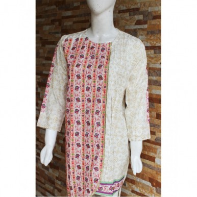 White Colour Ladies Readymade Designer Embroidered Lawn Kurti
