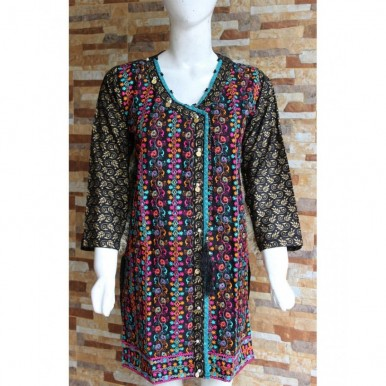 Ladies Readymade Designer Embroidered Lawn Kurti in Black Color