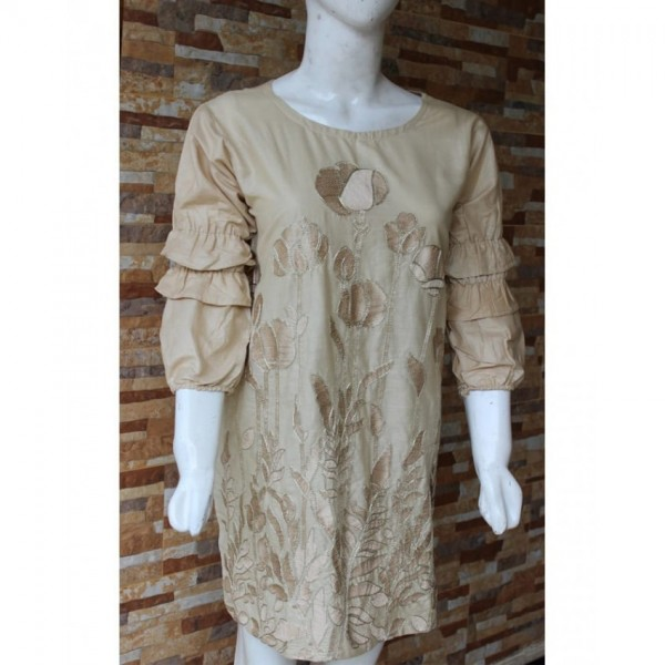 Ladies Readymade Designer Embroidered Lawn Kurti in Beige Colour