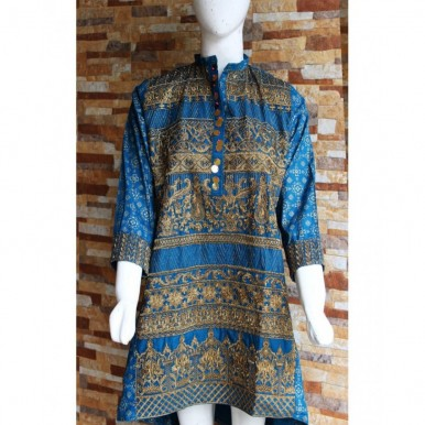 Lawn Embroidered Blue Kurti for Ladies