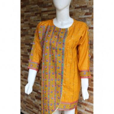 Orange Color Embroidered Lawn Kurti