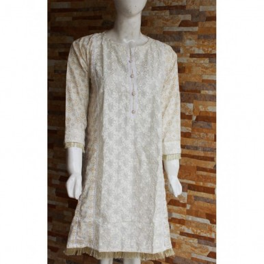 Ladies Readymade Designer Embroidered Lawn Kurti in White Colour