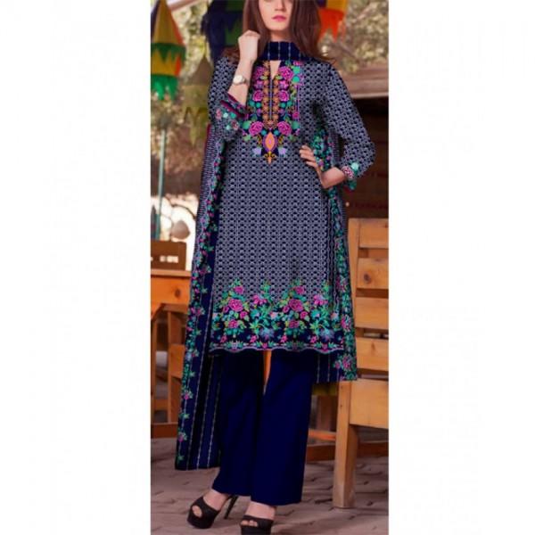 Ladies Designer Printed Linen Suit - BL29
