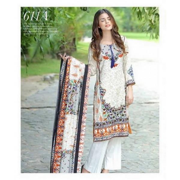 Ladies Designer Printed Linen Suit - 611A