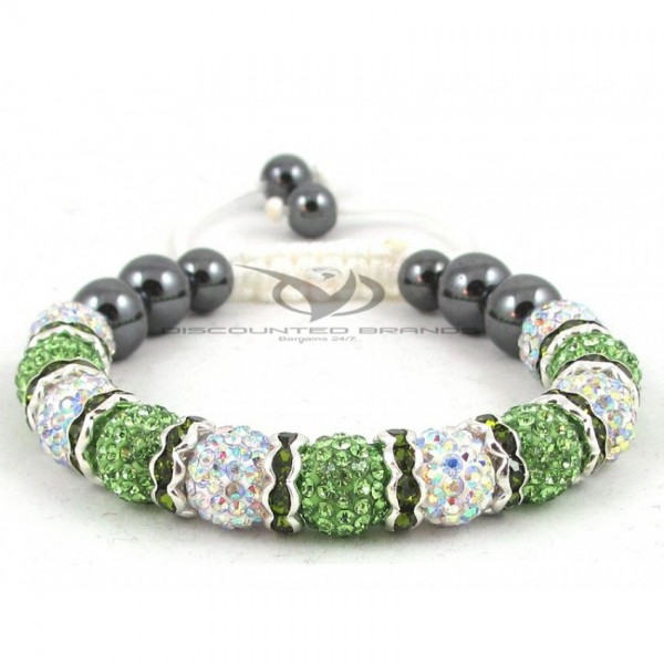 Hollywood Celebrities Shamballa Bracelet Rhinestone Crystal Disco Ball Green And White with Spacers Adjustable Bracelet UK For Her A102