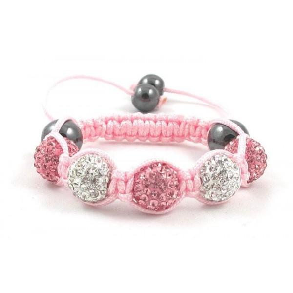 Kids Shamballa Bracelet Rhinestone Crystal Disco Ball Adjustable Bracelet UK For Her A108