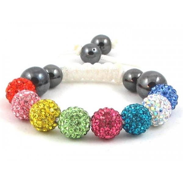 Kids Shamballa Bracelet Rhinestone Crystal Disco Ball MultiColor Adjustable Bracelet UK