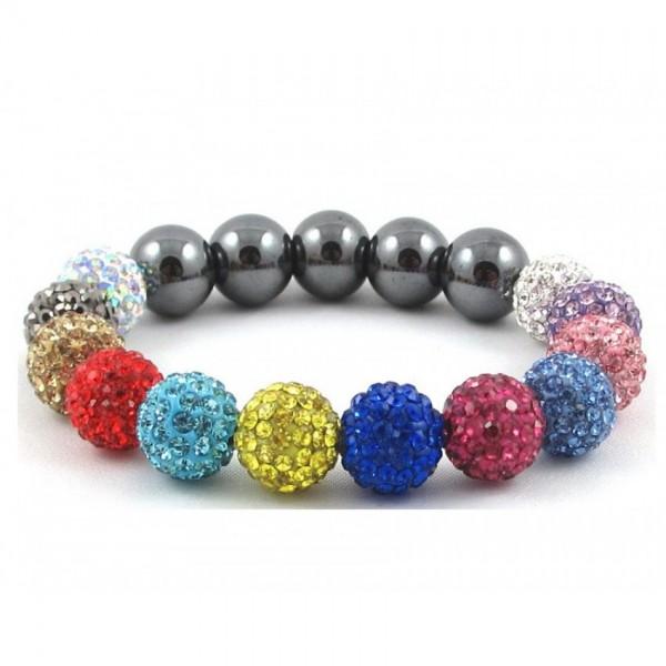 Hollywood Celebrities Shamballa Bracelet Rhinestone Crystal Disco Ball Multi Color Adjustable Bracelet UK For Her A103