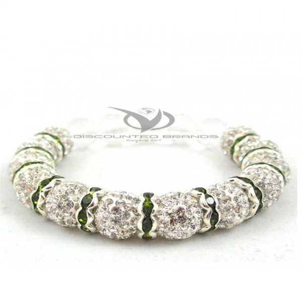 Hollywood Celebrities Shamballa Bracelet Rhinestone Crystal Disco Ball White with Green Spacer Adjustable Bracelet UK For Her A106