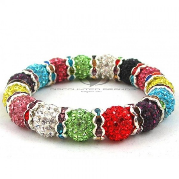 Hollywood Celebrities Shamballa Bracelet Rhinestone Crystal Disco Ball MultiColor Stretchable Bracelet UK For Her A105