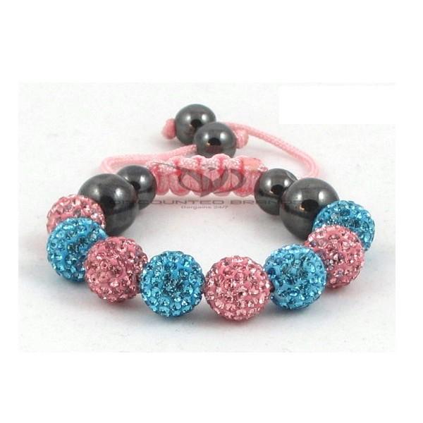 Kids Shamballa Bracelet Rhinestone Crystal Disco Ball Adjustable Bracelet UK For Her A110