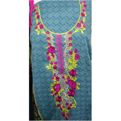 3pcs Printed Lawn with Embroidery dress for ladies TA-003