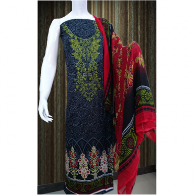 Blue Color Embroidered lawn dress with Chiffon Dupatta 3pcs TA-001