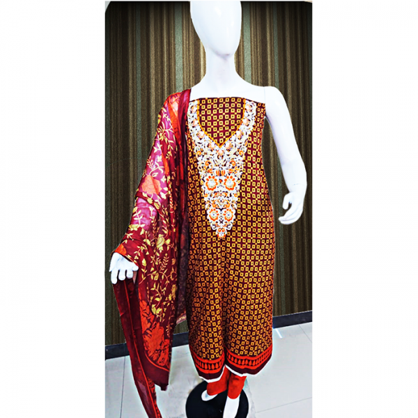 Printed Lawn Dress with Embroidery - 3 pcs TA-002
