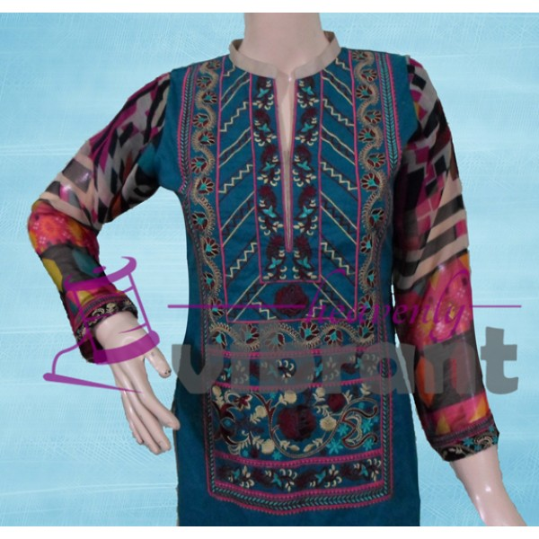 Formal wear - Embroided dark turquise 3 piece suit for her A102