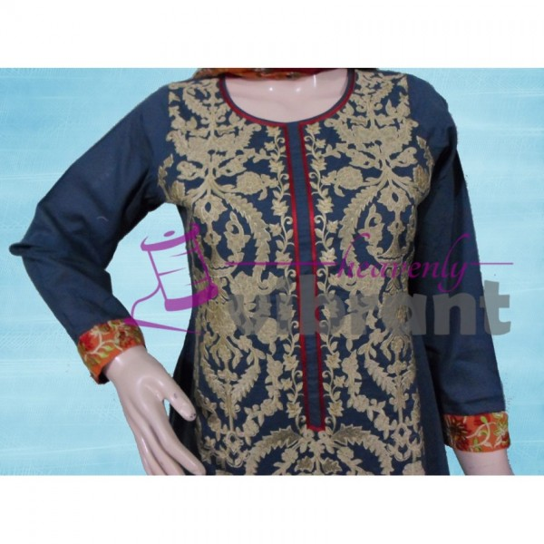 Formal wear - Embroided Cyan 3 piece suit for her