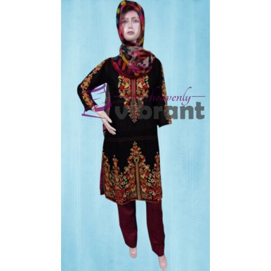 Formal wear - Embroided black 3 piece suit for her