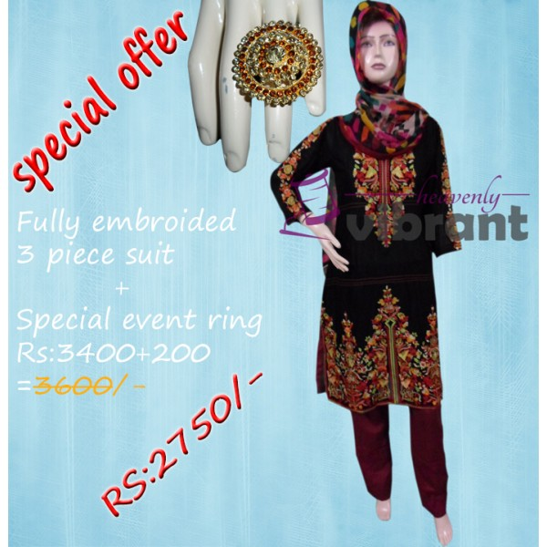 BUNDLE DEAL - EMBROIDED BLACK 3 PIECE SUIT AND SPECIAL EVENT RING