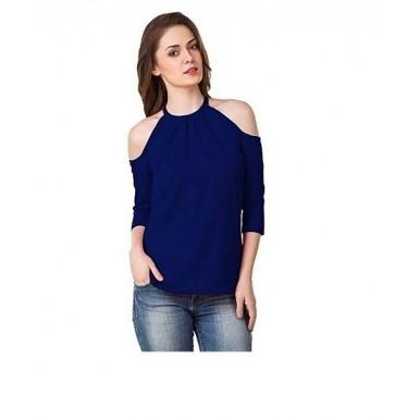 Timmi Off Shoulder Blue Shirt for Women