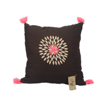 Black Cushion with Embroidered Motif