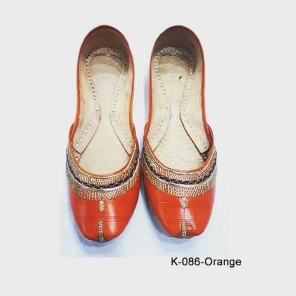 Leather Khussa shoes for women K-077 Orange TIll Work