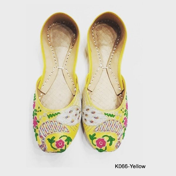 Leather Khussa shoes for women K-066 Yellow