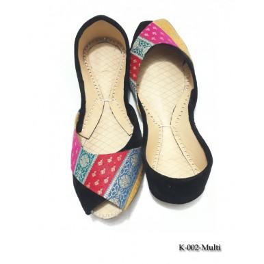 Multicolour Leather Khussa Shoes k-002