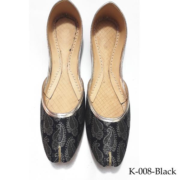 Jamawar Style Khussa for women in black color - K-008