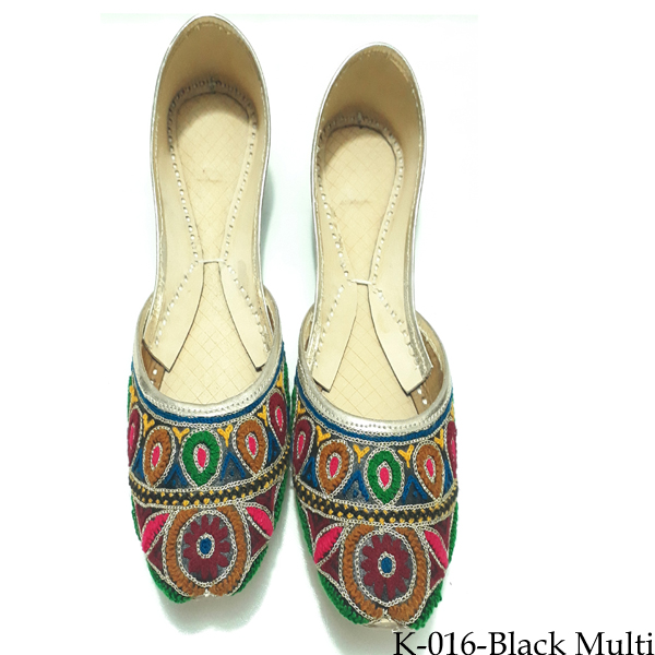 Embroidered Leather Khussa for women in Multicolor K-016