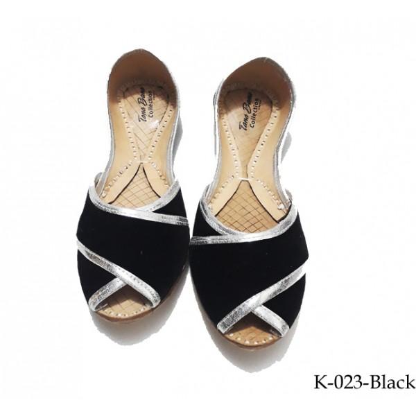 Leather Khussa for women K-023 Black