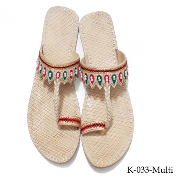 Leather Kholapuri Shoes for Women K-33-Multi